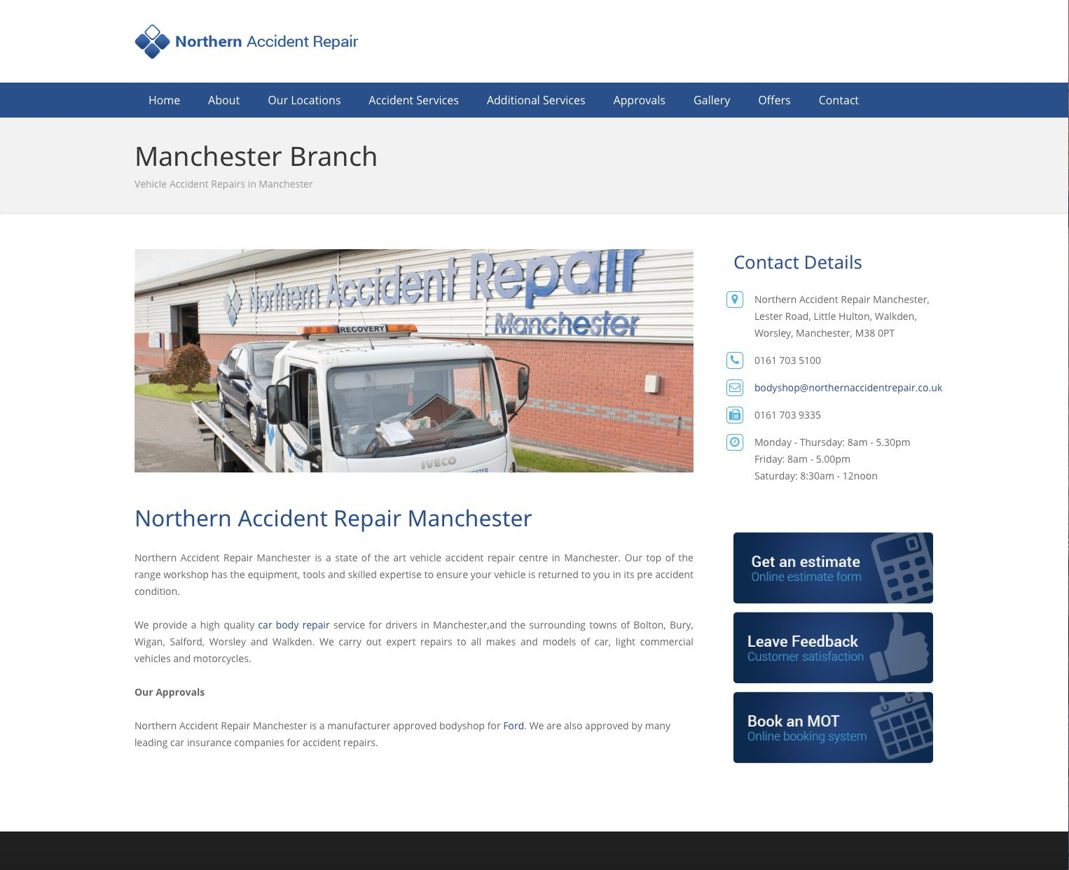Commercial photography for Northern Accident Repair